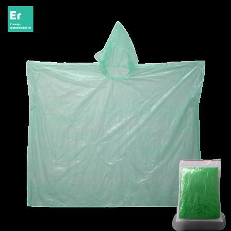 Regenponcho grün mit Verpackung